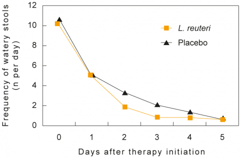 Lactobacillus reuteri was effective as a therapeutic agent in children hospitalised with acute diarrhoea.